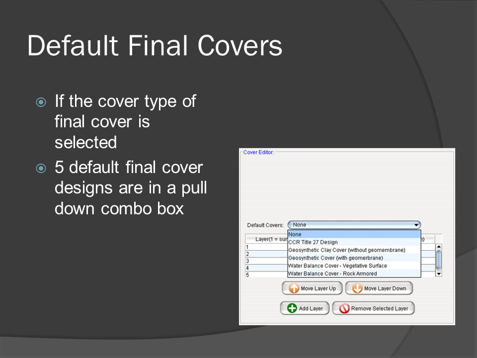 Default Final Covers  If the cover type of final cover is selected  5 default final cover designs are in a pull down combo box