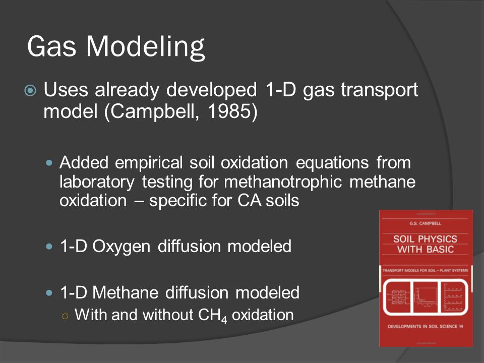 Gas Modeling  Uses already developed 1-D gas transport model (Campbell, 1985) Added empirical soil oxidation equations from laboratory testing for methanotrophic methane oxidation – specific for CA soils 1-D Oxygen diffusion modeled 1-D Methane diffusion modeled ○ With and without CH 4 oxidation