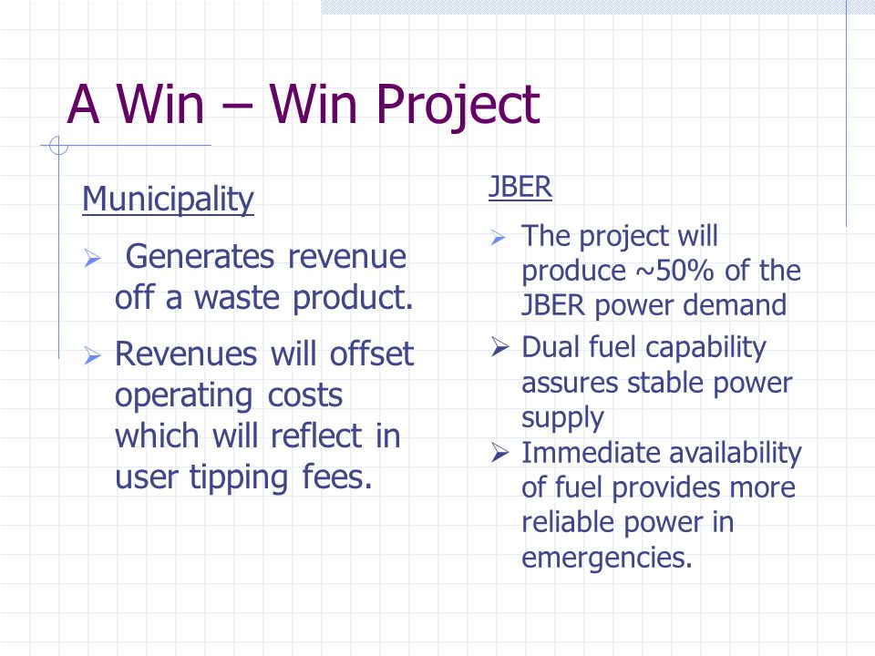 A Win – Win Project Municipality  Generates revenue off a waste product.  Revenues will offset operating costs which will reflect in user tipping fe