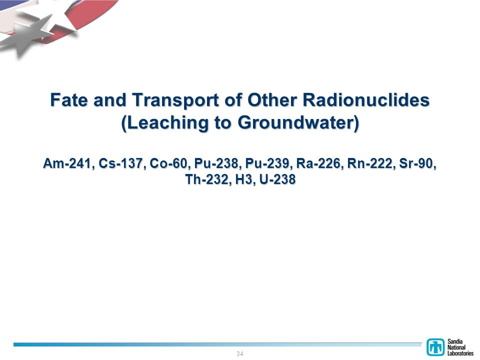 34 Fate and Transport of Other Radionuclides (Leaching to Groundwater) Am-241, Cs-137, Co-60, Pu-238, Pu-239, Ra-226, Rn-222, Sr-90, Th-232, H3, U-238