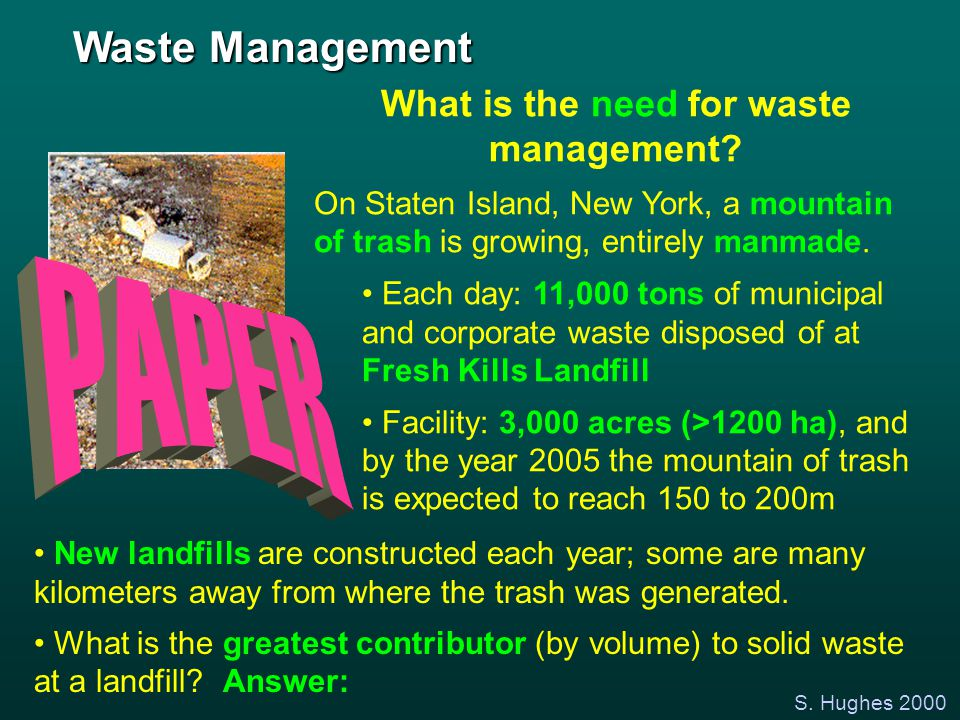 S. Hughes 2000 What is the need for waste management? On Staten Island, New York, a mountain of trash is growing, entirely manmade. Each day: 11,000 t