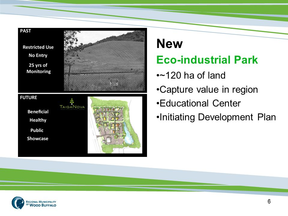 6 New Eco-industrial Park ~120 ha of land Capture value in region Educational Center Initiating Development Plan