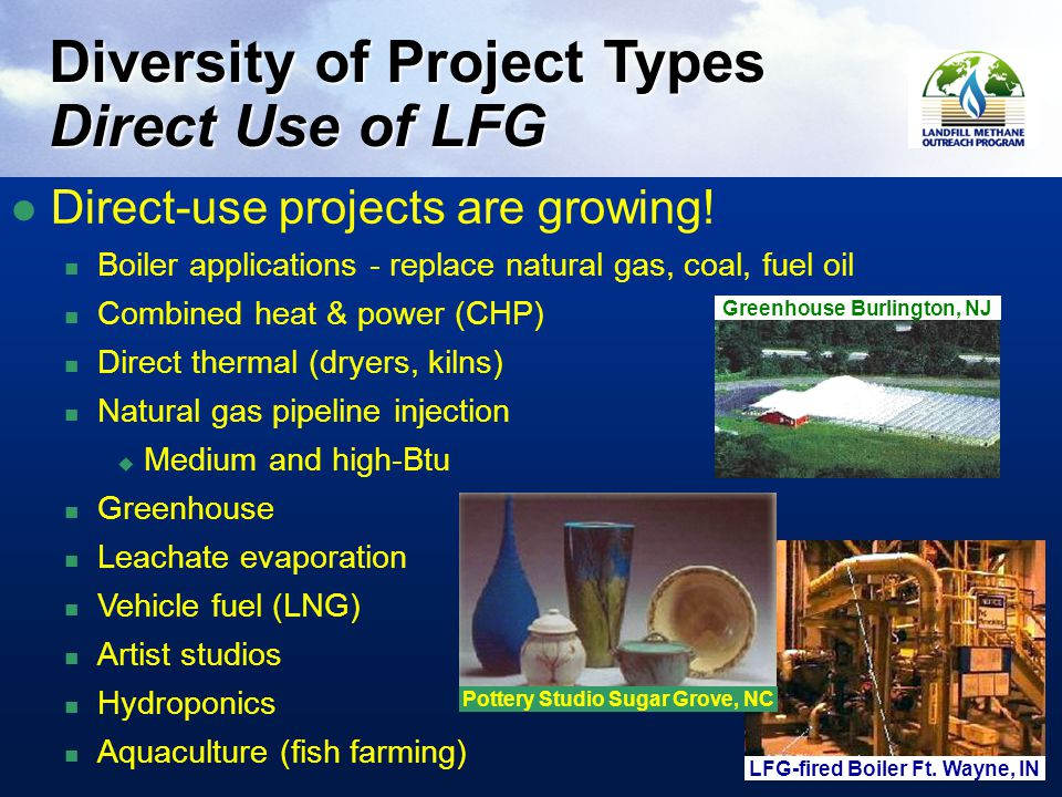 11 Diversity of Project Types Direct Use of LFG Greenhouse Burlington, NJ LFG-fired Boiler Ft.