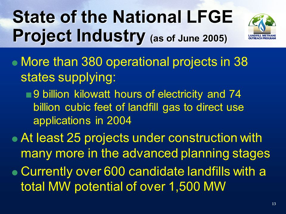 13 State of the National LFGE Project Industry (as of June 2005)  More than 380 operational projects in 38 states supplying:  9 billion kilowatt hours of electricity and 74 billion cubic feet of landfill gas to direct use applications in 2004  At least 25 projects under construction with many more in the advanced planning stages  Currently over 600 candidate landfills with a total MW potential of over 1,500 MW