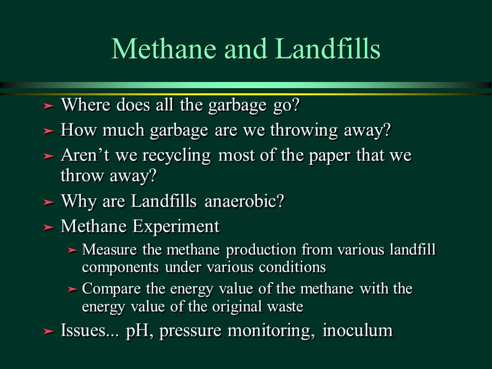 Methane and Landfills ä Where does all the garbage go? ä How much garbage are we throwing away? ä Aren't we recycling most of the paper that we throw