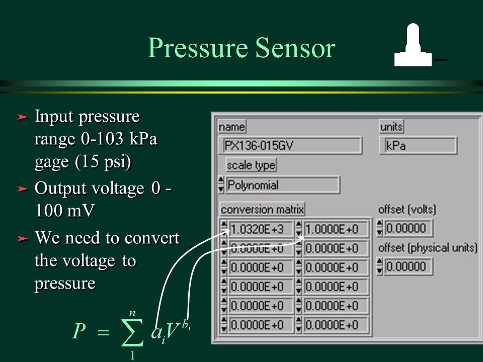 Pressure Sensor ä Input pressure range 0-103 kPa gage (15 psi) ä Output voltage 0 - 100 mV ä We need to convert the voltage to pressure ä Input pressure range 0-103 kPa gage (15 psi) ä Output voltage 0 - 100 mV ä We need to convert the voltage to pressure