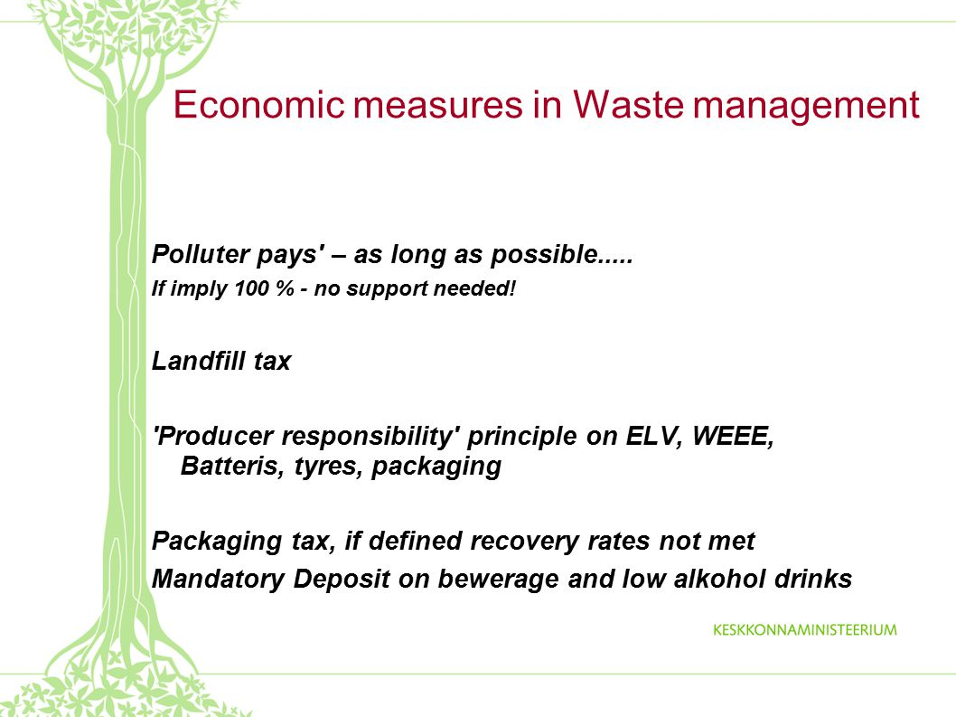 Economic measures in Waste management Polluter pays – as long as possible.....
