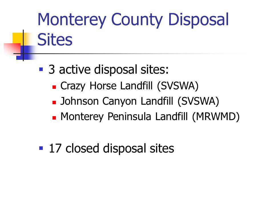 Monterey County Disposal Sites  3 active disposal sites: Crazy Horse Landfill (SVSWA) Johnson Canyon Landfill (SVSWA) Monterey Peninsula Landfill (MRWMD)  17 closed disposal sites