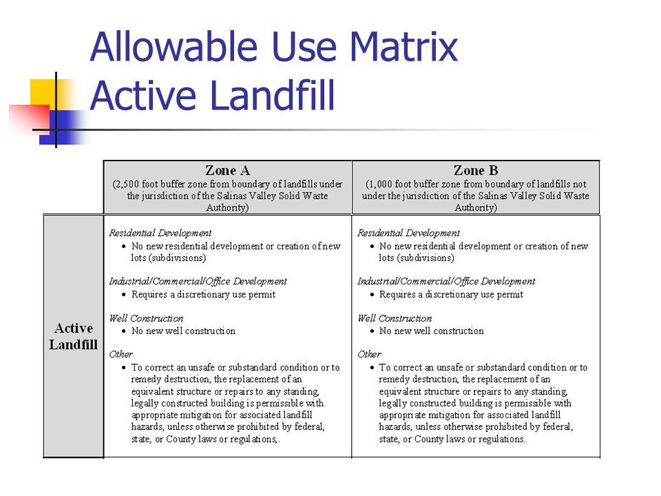 Allowable Use Matrix Active Landfill