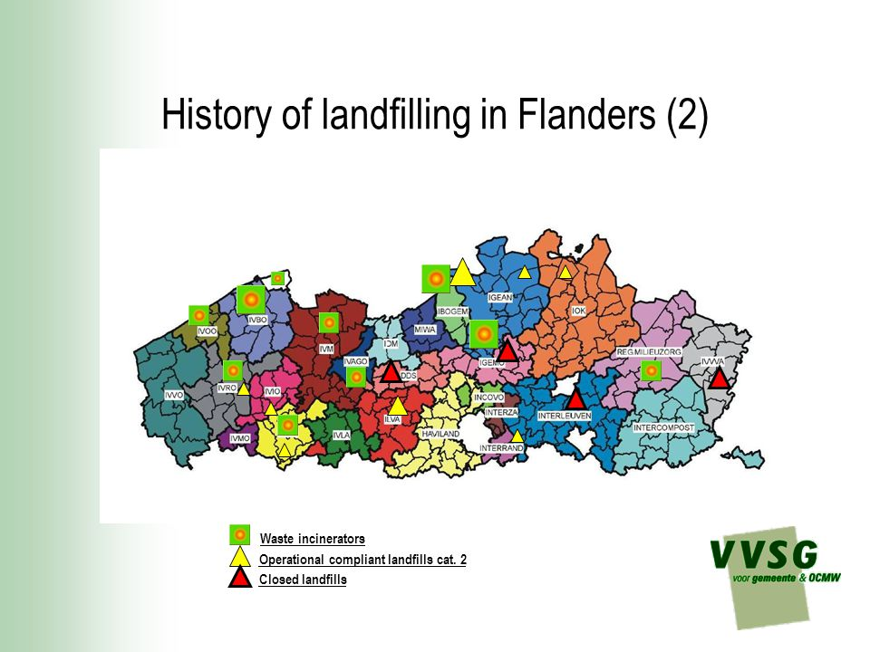 History of landfilling in Flanders (2) Waste incinerators Operational compliant landfills cat.