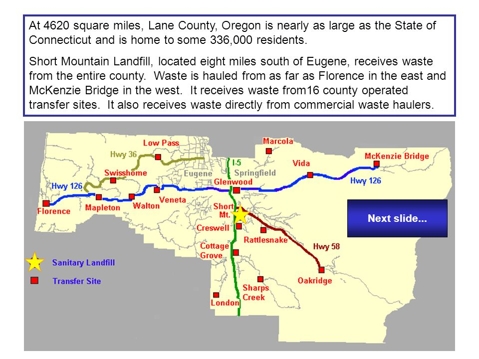 At 4620 square miles, Lane County, Oregon is nearly as large as the State of Connecticut and is home to some 336,000 residents. Short Mountain Landfil