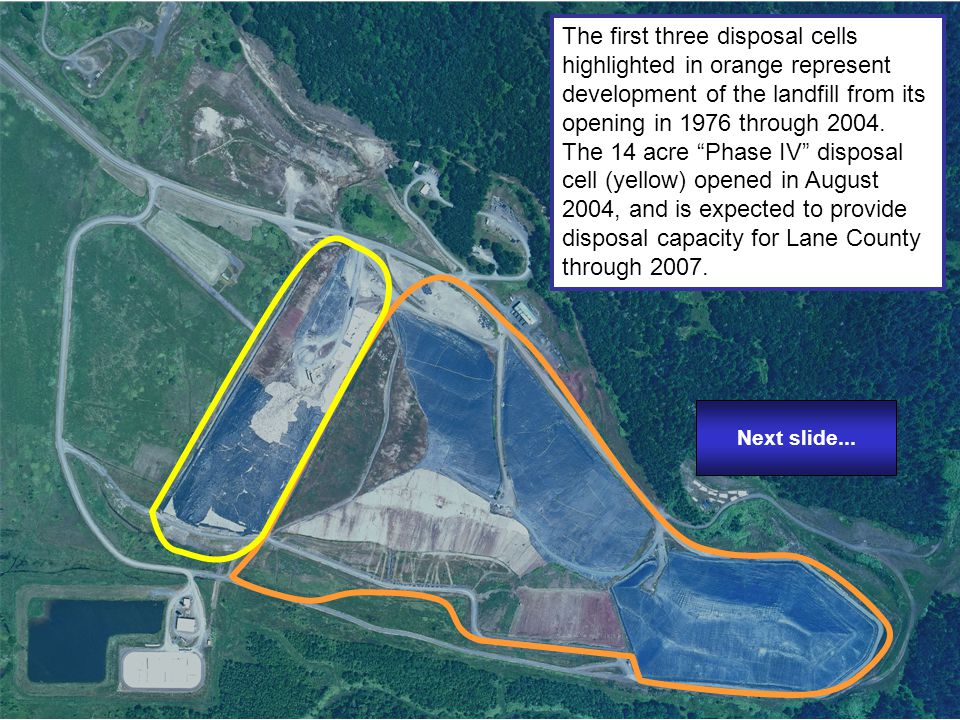 Next slide...In this view, the current leachate storage lagoon is highlighted in green.