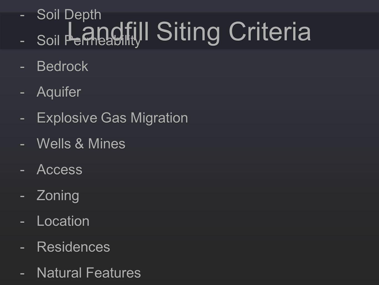 -Slope and terrain -Soil Depth -Soil Permeability -Bedrock -Aquifer -Explosive Gas Migration -Wells & Mines -Access -Zoning -Location -Residences -Nat