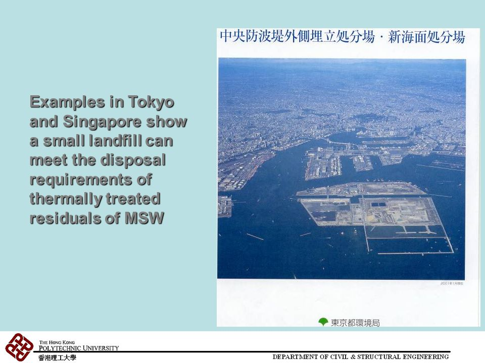 Examples in Tokyo and Singapore show a small landfill can meet the disposal requirements of thermally treated residuals of MSW