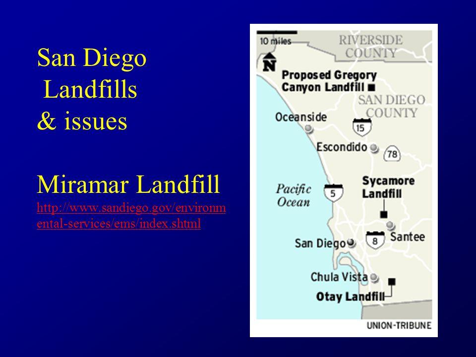 San Diego Landfills & issues Miramar Landfill http://www.sandiego.gov/environm ental-services/ems/index.shtml http://www.sandiego.gov/environm ental-services/ems/index.shtml