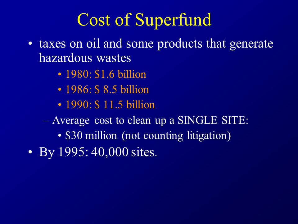 Cost of Superfund taxes on oil and some products that generate hazardous wastes 1980: $1.6 billion 1986: $ 8.5 billion 1990: $ 11.5 billion –Average cost to clean up a SINGLE SITE: $30 million (not counting litigation) By 1995: 40,000 sites.
