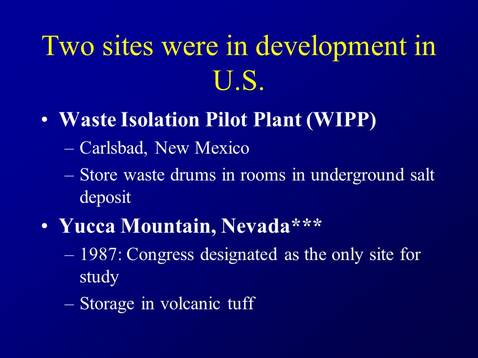 Two sites were in development in U.S.