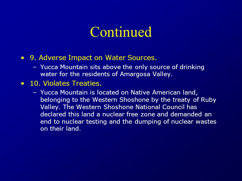 Continued 9. Adverse Impact on Water Sources.