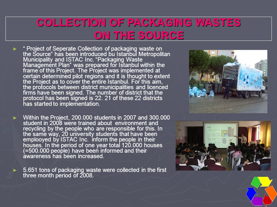 """COLLECTION OF PACKAGING WASTES ON THE SOURCE ON THE SOURCE ► ► """" Project of Seperate Collection of packaging waste on the Source"""" has been introduced"""
