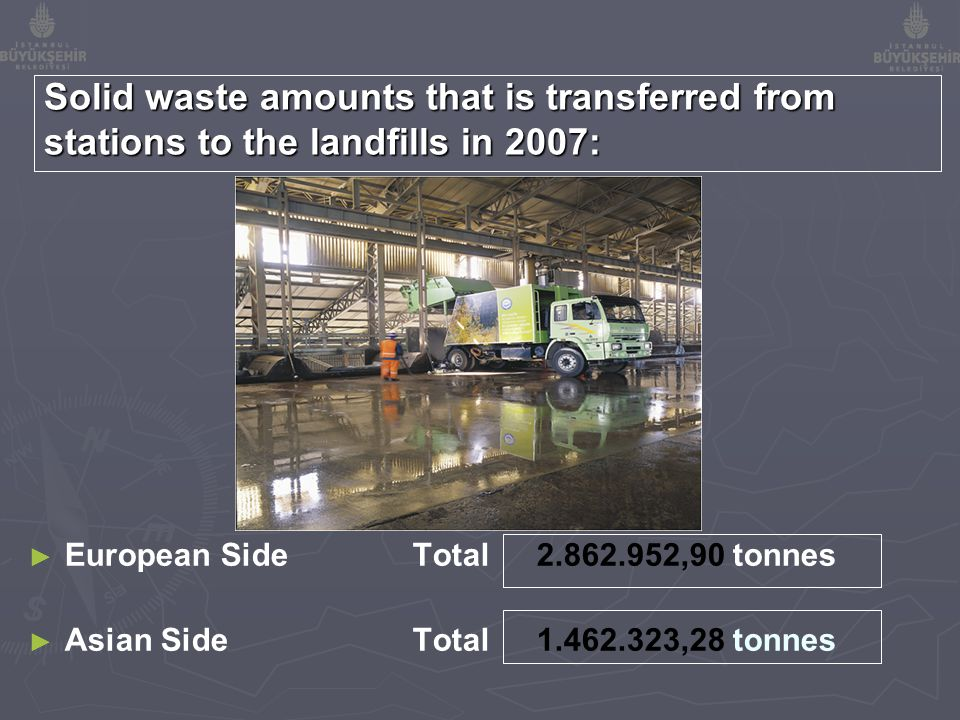 Solid waste amounts that is transferred from stations to the landfills in 2007: ► ► European Side Total 2.862.952,90 tonnes ► ► Asian Side Total 1.462.323,28 tonnes