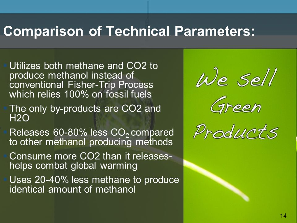 14 Comparison of Technical Parameters:  Utilizes both methane and CO2 to produce methanol instead of conventional Fisher-Trip Process which relies 10