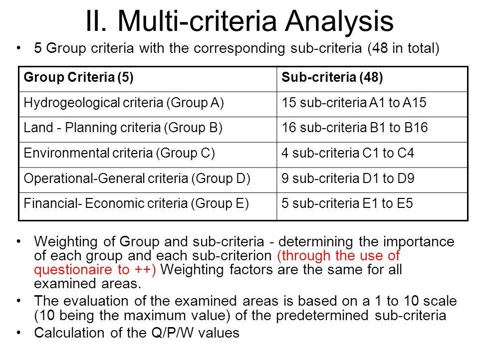 II. Multi-criteria Analysis 5 Group criteria with the corresponding sub-criteria (48 in total) Weighting of Group and sub-criteria - determining the i