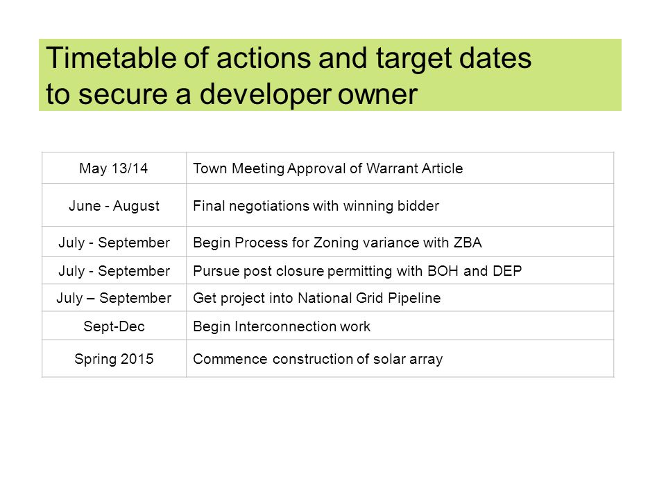 Timetable of actions and target dates to secure a developer owner May 13/14Town Meeting Approval of Warrant Article June - AugustFinal negotiations with winning bidder July - SeptemberBegin Process for Zoning variance with ZBA July - SeptemberPursue post closure permitting with BOH and DEP July – SeptemberGet project into National Grid Pipeline Sept-DecBegin Interconnection work Spring 2015Commence construction of solar array