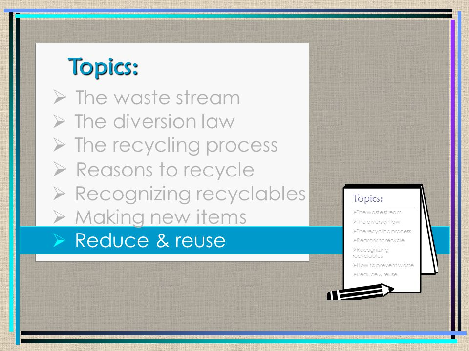 Waste Stream Process: Product You Collected/transferred Landfill Manufacturer Collected/Processed You Recycling Process: