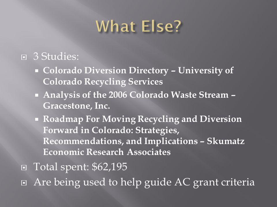  3 Studies:  Colorado Diversion Directory – University of Colorado Recycling Services  Analysis of the 2006 Colorado Waste Stream – Gracestone, Inc