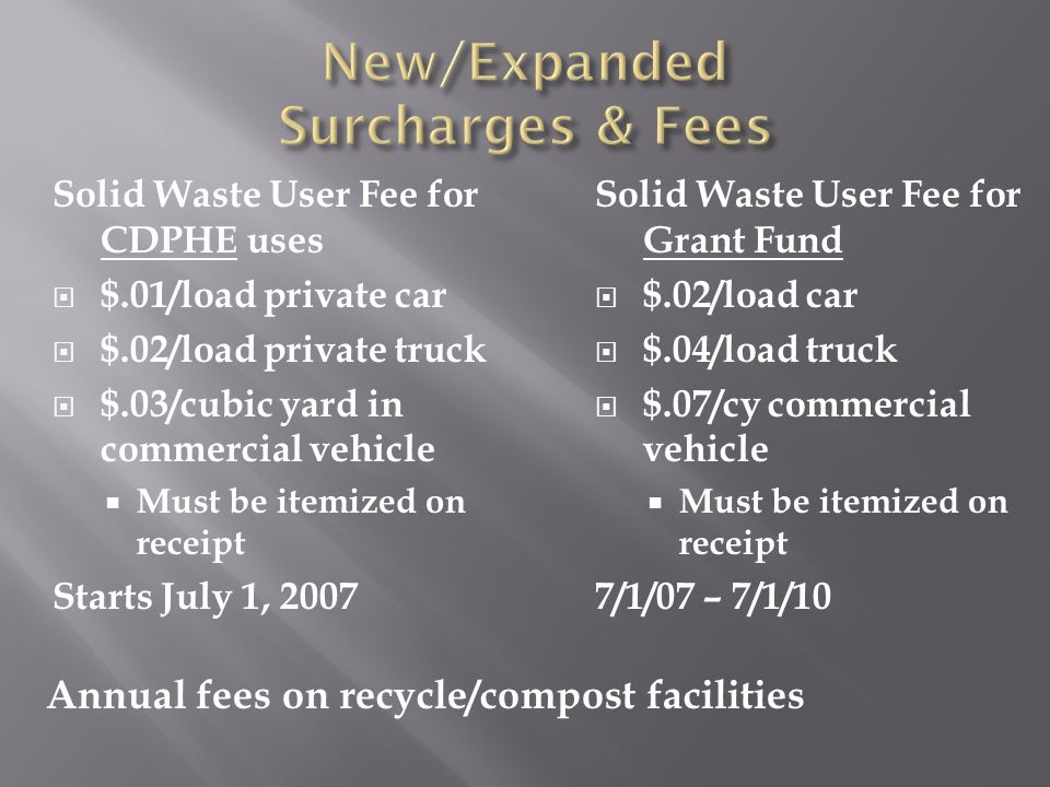 Solid Waste User Fee for CDPHE uses  $.01/load private car  $.02/load private truck  $.03/cubic yard in commercial vehicle  Must be itemized on receipt Starts July 1, 2007 Solid Waste User Fee for Grant Fund  $.02/load car  $.04/load truck  $.07/cy commercial vehicle  Must be itemized on receipt 7/1/07 – 7/1/10 Annual fees on recycle/compost facilities