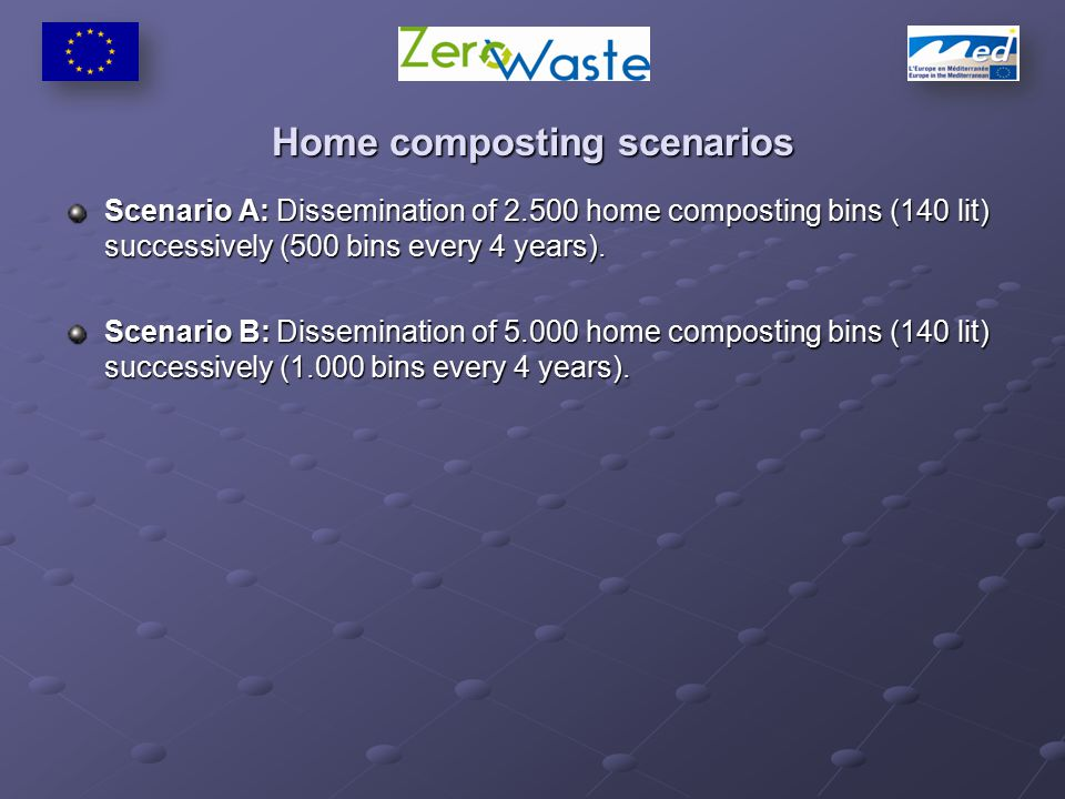Home composting scenarios Scenario Α: Dissemination of 2.500 home composting bins (140 lit) successively (500 bins every 4 years).