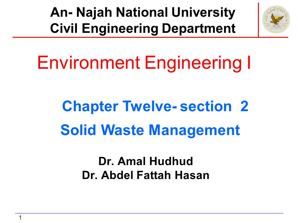 1 Environment Engineering I Dr. Amal Hudhud Dr. Abdel Fattah Hasan An- Najah National University Civil Engineering Department Solid Waste Management C