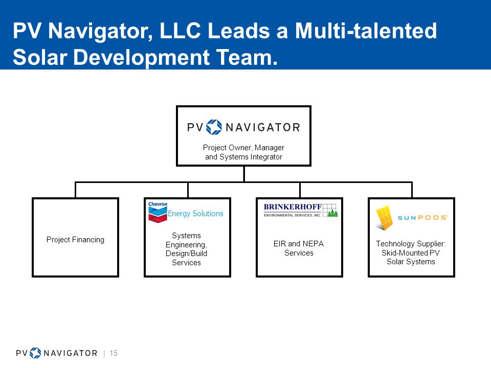 PV Navigator, LLC Leads a Multi-talented Solar Development Team.