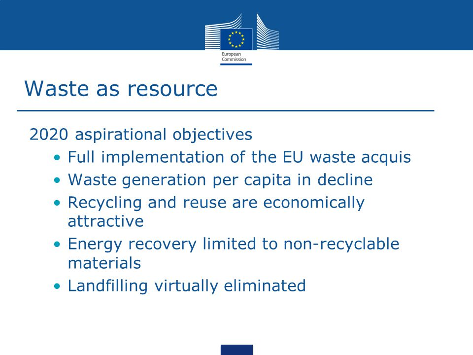 Waste as Resource – In practice Review targets on prevention, reuse and recycling and landfill diversion (2014) Other supportive measures EU public funding aligned with waste hierarchy Improve coherence of the EU legislation Product policy (reusability, recyclability, recycled content, durability) Measures to extent the producer responsibility