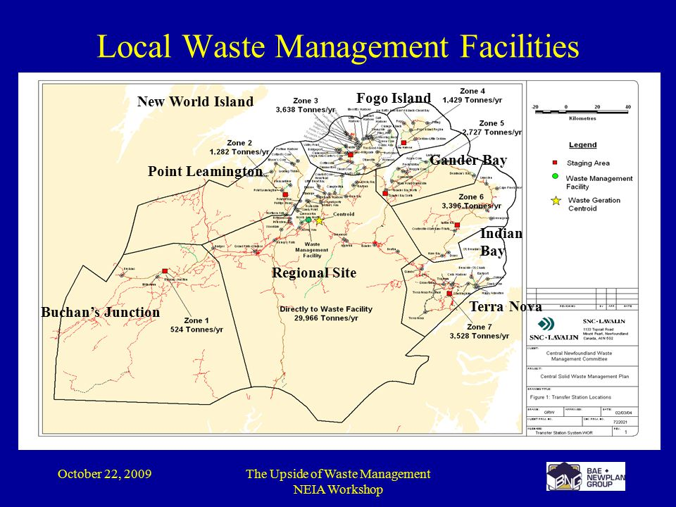 October 22, 2009The Upside of Waste Management NEIA Workshop Buchan's Junction Point Leamington New World Island Fogo Island Gander Bay Indian Bay Terra Nova Regional Site Local Waste Management Facilities
