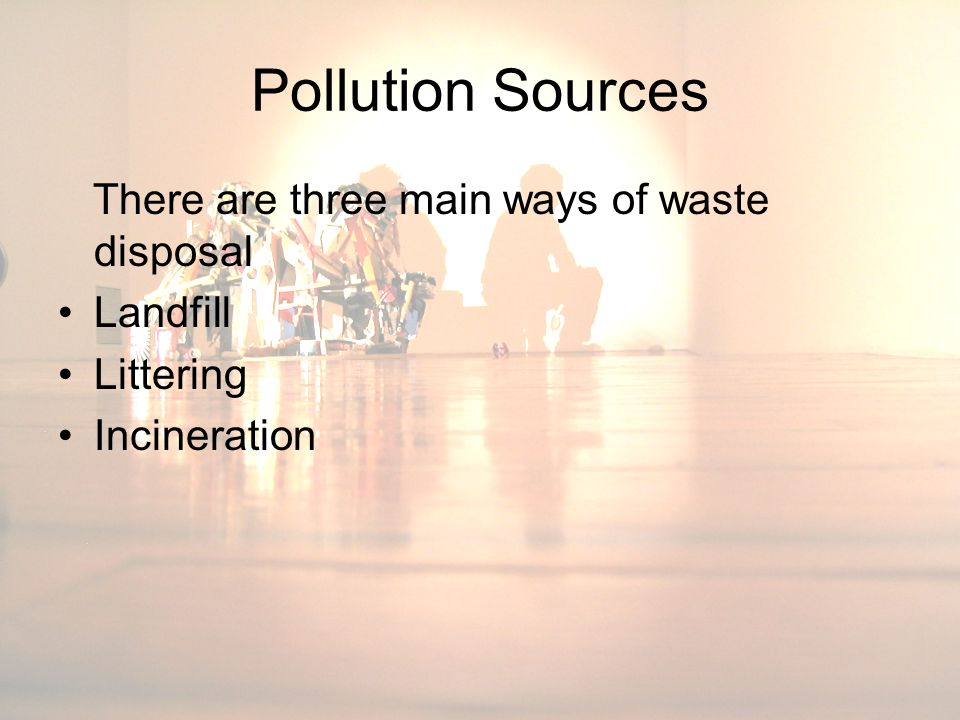 Pollution Sources There are three main ways of waste disposal Landfill Littering Incineration