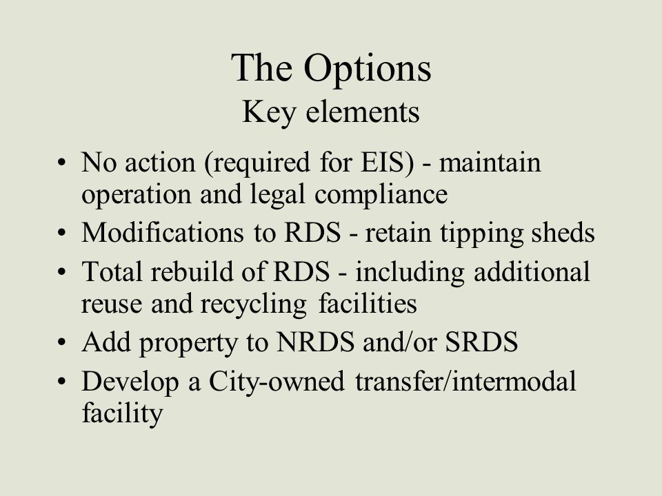 The Options Key elements No action (required for EIS) - maintain operation and legal compliance Modifications to RDS - retain tipping sheds Total rebuild of RDS - including additional reuse and recycling facilities Add property to NRDS and/or SRDS Develop a City-owned transfer/intermodal facility