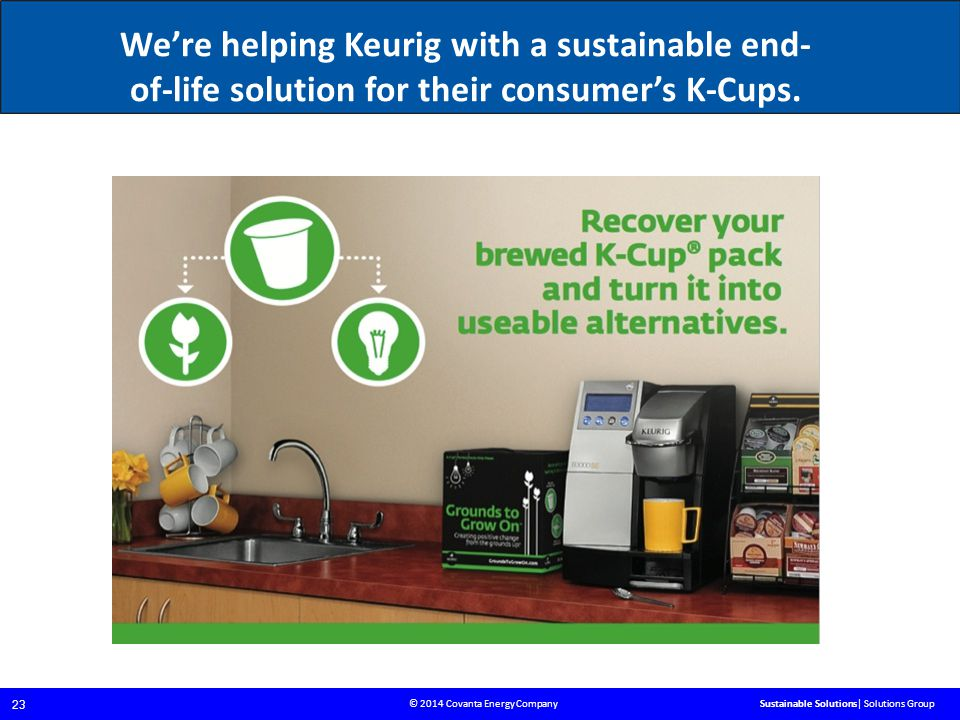 © 2014 Covanta Energy Company 23 Sustainable Solutions| Solutions Group We're helping Keurig with a sustainable end- of-life solution for their consumer's K-Cups.