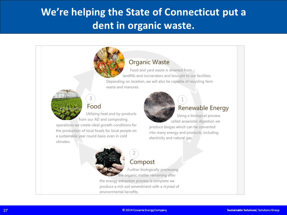 © 2014 Covanta Energy Company 27 Sustainable Solutions| Solutions Group We're helping the State of Connecticut put a dent in organic waste.