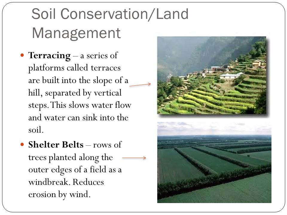 Soil Conservation/Land Management Terracing – a series of platforms called terraces are built into the slope of a hill, separated by vertical steps.