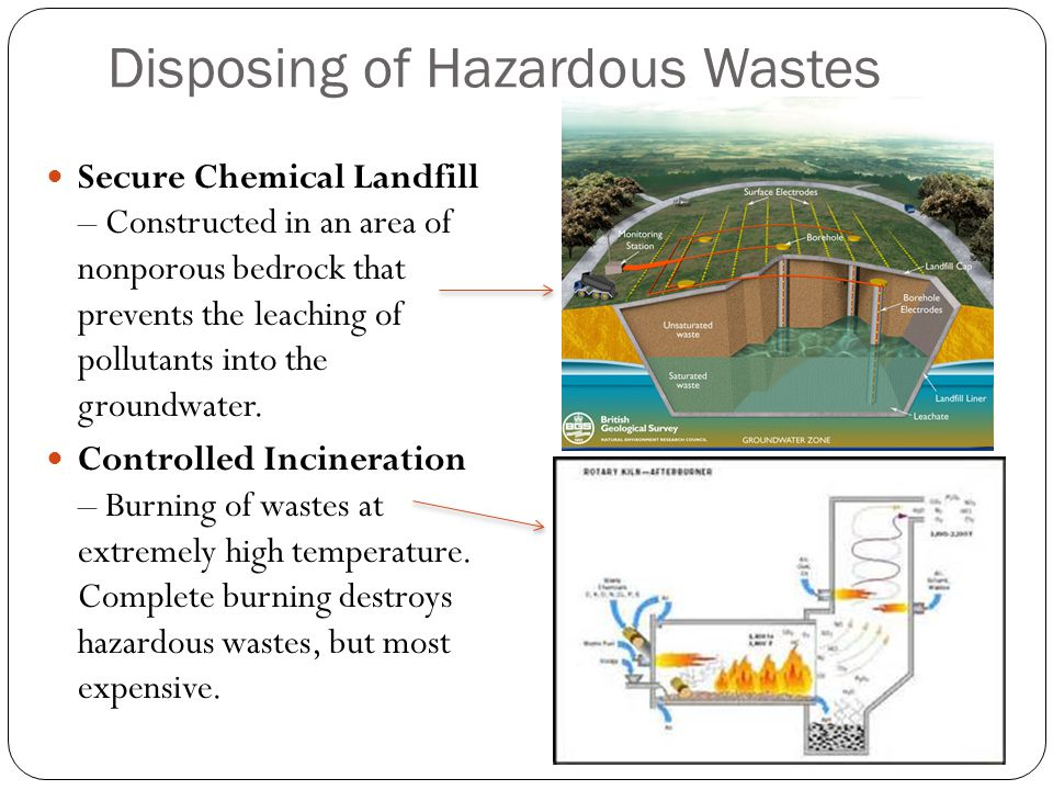 Disposing of Hazardous Wastes Secure Chemical Landfill – Constructed in an area of nonporous bedrock that prevents the leaching of pollutants into the groundwater.