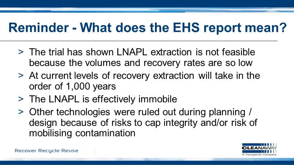 Reminder - What does the EHS report mean.