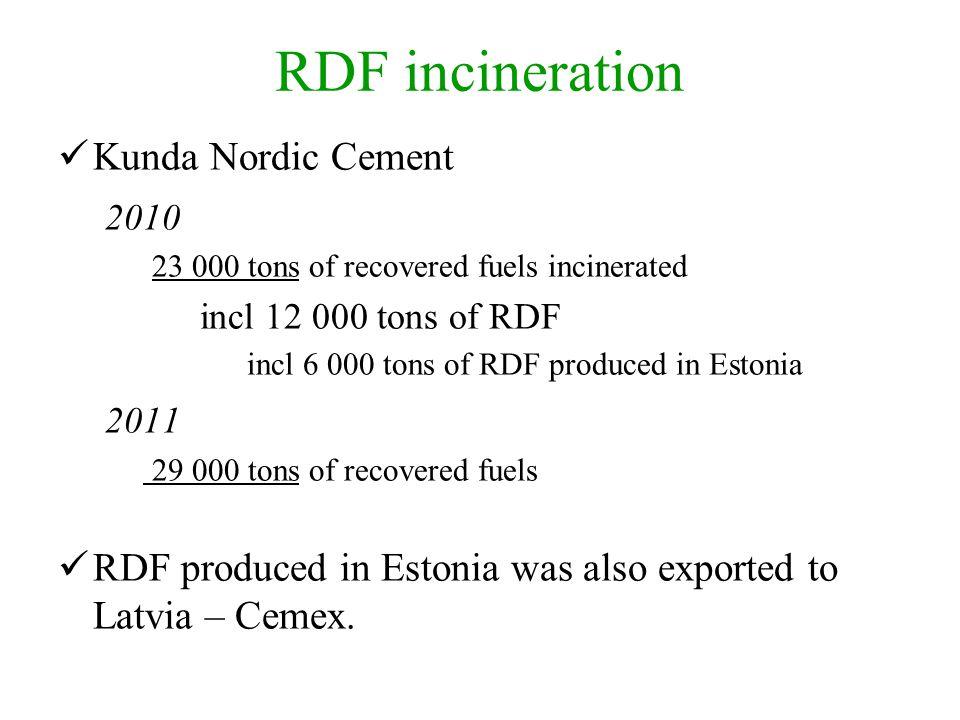 RDF incineration Kunda Nordic Cement 2010 23 000 tons of recovered fuels incinerated incl 12 000 tons of RDF incl 6 000 tons of RDF produced in Estoni