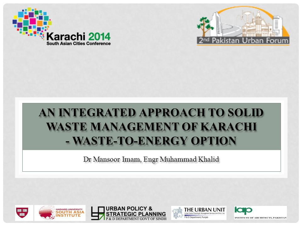 AGENDA OF PRESENTATION Introduction of Karachi & Karachi Municipal Corporation Waste Generation Profile and Existing Infrastructure Waste Generation and Compositional Studies at Representative Towns, Temporary GTS & Landfill Site Results and Analysis Conclusion 2