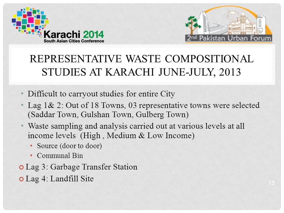 REPRESENTATIVE WASTE COMPOSITIONAL STUDIES AT KARACHI JUNE-JULY, 2013 Difficult to carryout studies for entire City Lag 1& 2: Out of 18 Towns, 03 representative towns were selected (Saddar Town, Gulshan Town, Gulberg Town) Waste sampling and analysis carried out at various levels at all income levels (High, Medium & Low Income) Source (door to door) Communal Bin Lag 3: Garbage Transfer Station Lag 4: Landfill Site 13