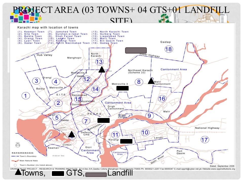 PROJECT AREA (03 TOWNS+ 04 GTS+01 LANDFILL SITE) 14 Towns, GTS, Landfill