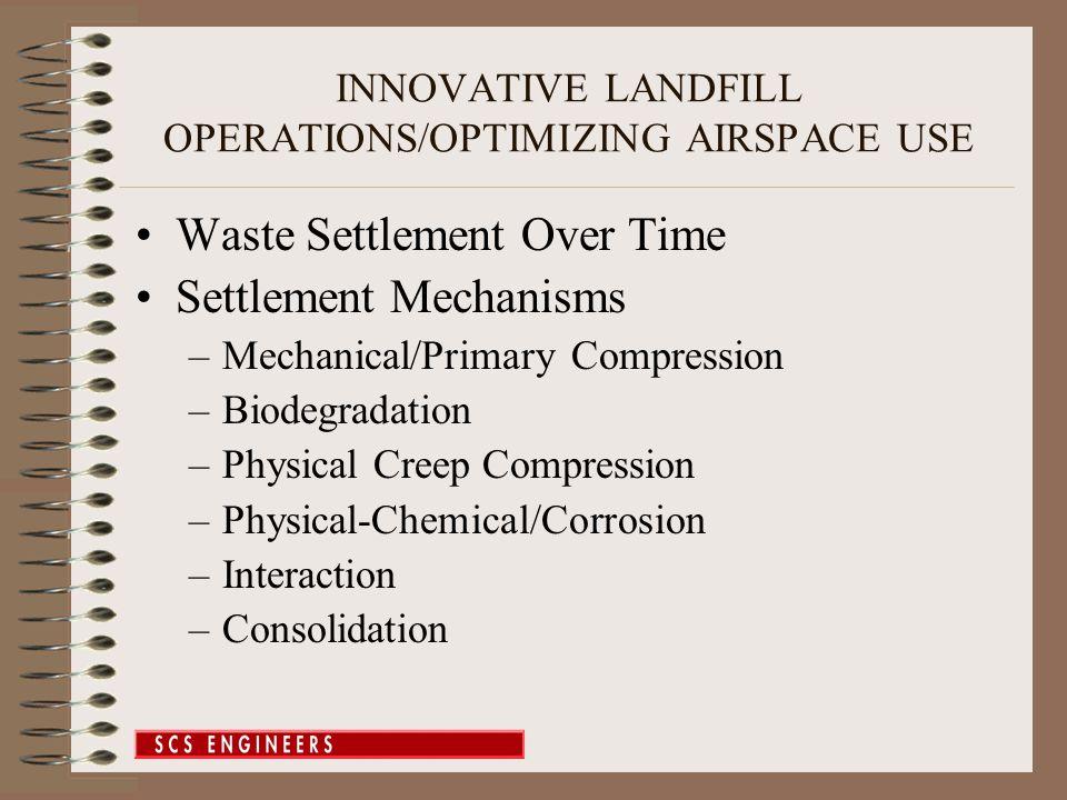 Waste Settlement Over Time Settlement Mechanisms –Mechanical/Primary Compression –Biodegradation –Physical Creep Compression –Physical-Chemical/Corros
