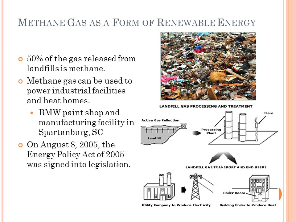 M ETHANE G AS AS A F ORM OF R ENEWABLE E NERGY 50% of the gas released from landfills is methane. Methane gas can be used to power industrial faciliti