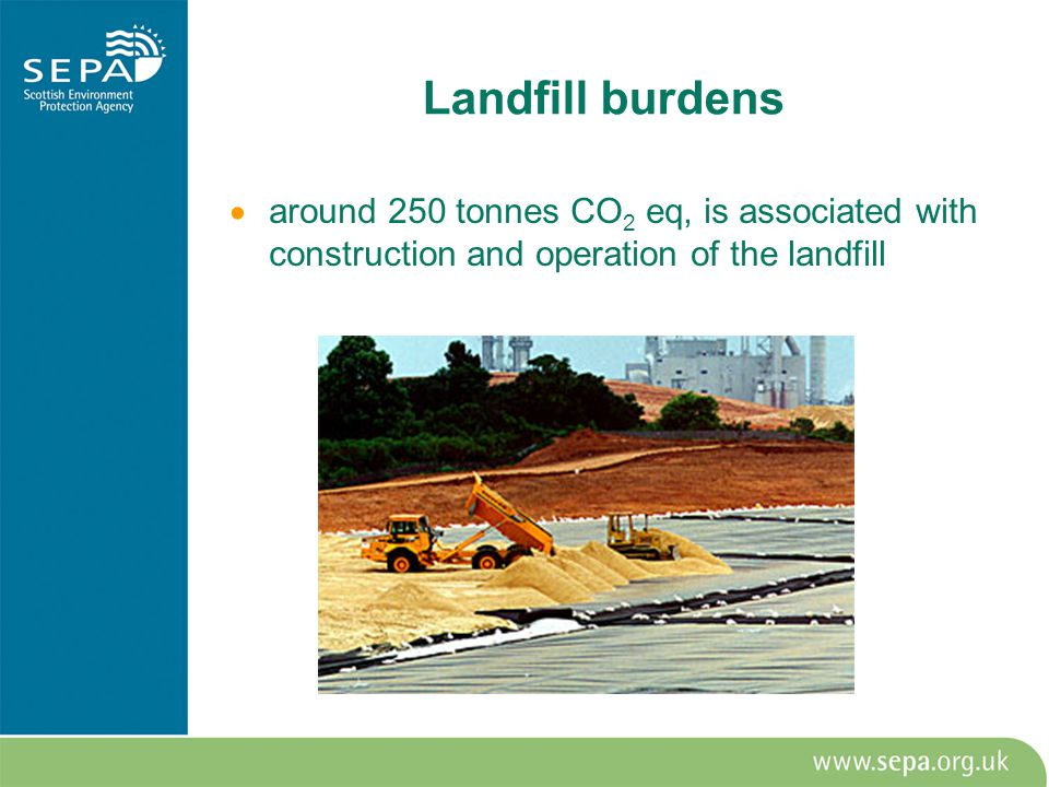Landfill burdens  around 250 tonnes CO 2 eq, is associated with construction and operation of the landfill