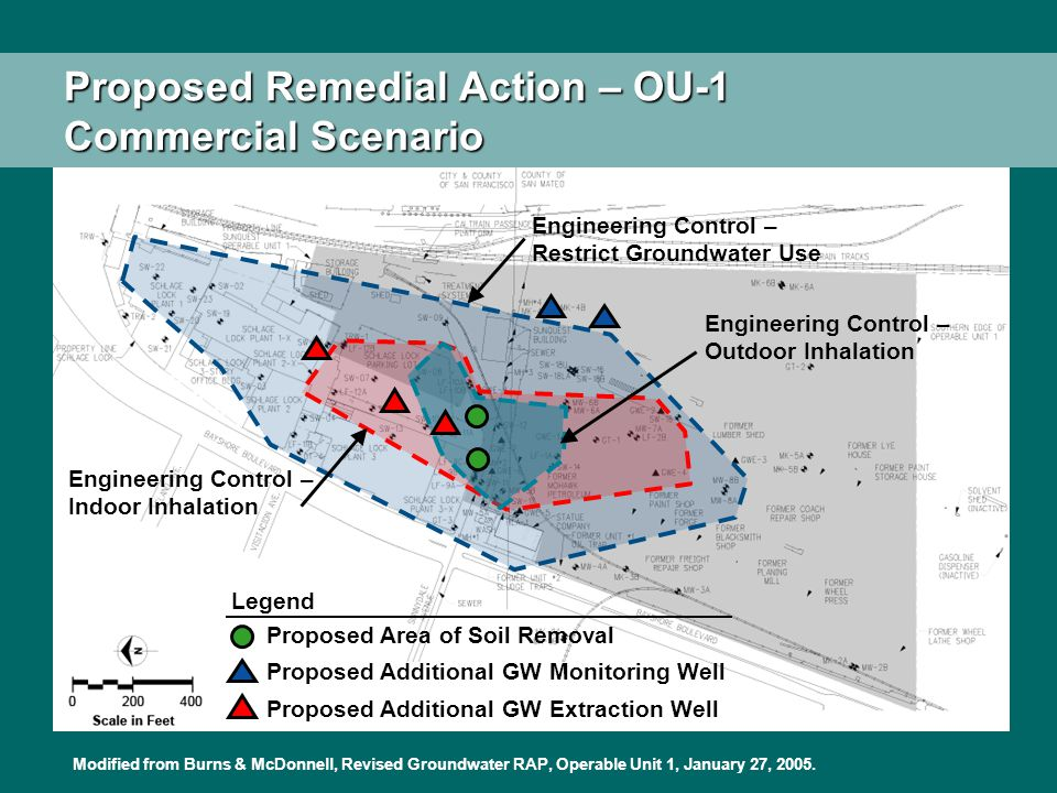 Proposed Remedial Action – OU-1 Commercial Scenario Legend Proposed Area of Soil Removal Proposed Additional GW Monitoring Well Proposed Additional GW